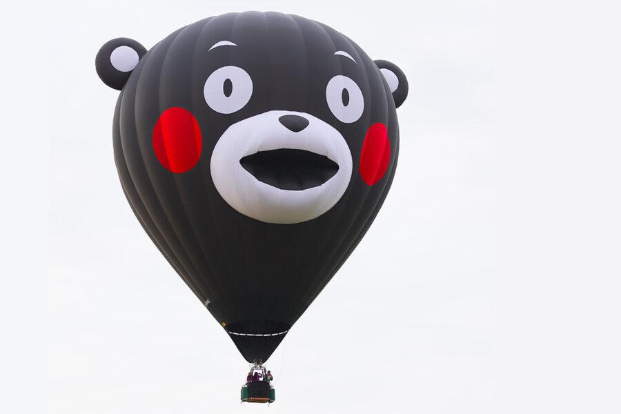 くまモン熱気球で空の旅はいかが? 湯の花温泉でモニター体験搭乗会実施中